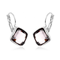 Wholesale italina jewelry brand for sale - Group buy Italina Crystal Earrings K Gold Plated Austrian crystal Multicolor Fashion Women Earrings Huggie Brand Jewelry