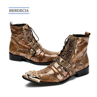 Wholesale cowboy boots wedding dress online - 2018 Brand Italian Men Ankle Boots Metal Pointed Toe Men Short Boots Genuine Leather Gold Lace Up Motorcycle Cowboy Boots