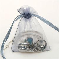 organze bagstring çanta gümüş toptan satış-Gümüş Gri Hediye Çantası Organze İpli Çanta Küpe Yüzük Kolye Braceklets Organizatör Çuval Takı Hediye Paketleme Çantası