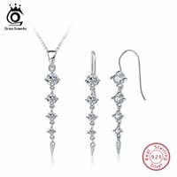 Wholesale 14k pure gold necklace - ORSA JEWELS Pure 925 Sterling Silver Sets For Women Long Leaf Shape AAA Cubic Zircon Necklace&Earring Fashion Jewelry Set SS14