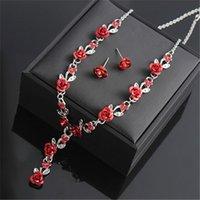 afrikanische perlen halsketten großhandel-Rosen-Blumen-Halskette Hochzeit Strass Fashion Halskette Ohrring-Sets Hochzeit Brautschmuck Afrikanische Perlen-Schmuck-Set Weihnachtsgeschenk