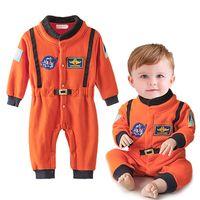 neugeborene babystickerei großhandel-Baby Jungen Kleidung Neugeborenen Jungen Strampler Astronaut Kleidung Langarm Overall Orange Stickerei raumanzug Kostüme