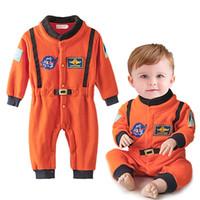 trajes espaciales trajes al por mayor-Ropa para niños bebés Bebé recién nacido Mameluco de mameluco Ropa de manga larga Mono naranja Bordado traje espacial Trajes