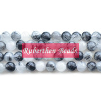Wholesale NB0071 High Quantity Black Hair Crystal Natural Stone Rutilated Quartz Loose Beads Stone Round Bead Best Jewelry Making Accessory