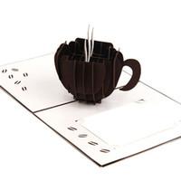благодарственные визитные карточки оптовых-Новый лазерная резка пригласительные открытки ручной 3D всплывающие карты кубическая чашка кофе бизнес поздравительные открытки Бесплатная доставка