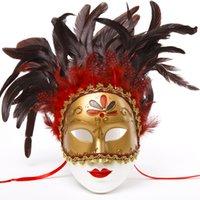 demi-masques colorés achat en gros de-Halloween masques vénitiens Boutique masques lacets lèvres demi-couleur masque de plume Décorer