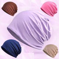 Wholesale Korean Style Scarves - New spring summer hat pregnant women night supplies cotton modal bib cap Korean style fashion magic scarf printing wild solid color hat