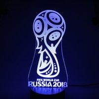 ingrosso aa tazze-2018 World Cup Awards 3D Illusion Lampada 3D Lampada Ottica AA Batteria USB alimentata 7 RGB DC 5V all'ingrosso Spedizione gratuita