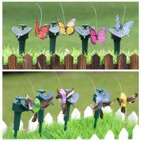 fliegende schmetterling spielzeug großhandel-Sonnenenergie-Tanzen Fliegen Schmetterlinge flattern Vibration Fly Hummingbird Flying Birds Garten-Yard-Dekoration lustige Spielwaren LJJA384
