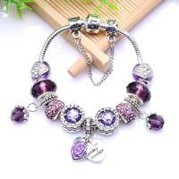 Wholesale pan european for sale – custom European Antique Silver Purple Rhinestone Charm Handmade Charms Bracelet Fit Pan Bracelets Bangles For Women Christmas Gift
