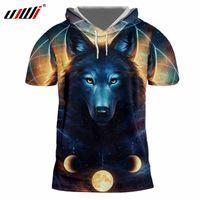homens do tampão camisetas homens venda por atacado-dos homens manga curta com capuz T-shirt fresco da cópia Galaxy Lobo 3D Space Cap T-shirt do homem de Hip Hop Streetwear Camisolas Fatos
