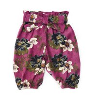 Wholesale corduroy children casual pants online - Everweekend Kids Girls Boys Corduroy Bow Shorts Pants Candy Floral Print Bow Pants Spring Autumn Fashion Children Clothing