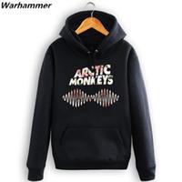monos de roca al por mayor-Arctic Monkeys Indie Rock Men Hoodie Winter Fleece Cotton Chándal Impresión en 3D Pullover Manga larga O-cuello 2XL Casual Fit Sudadera con capucha de la UE