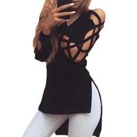uzun kollu v yaka t gömlekleri toptan satış-2017 Yeni Moda Kadın T Gömlek Uzun Kollu V Boyun Seksi Hollow Out Sonbahar Artı Boyutu Womens Üst Katı Siyah Kırmızı Haki Parti Kulübü