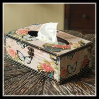 ingrosso carte a forma di farfalla-ElimElim European Style Vintage Tissue Box Cover Portatovaglioli di carta igienica Scatole di carta igienica a forma di fiore di farfalla