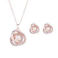 ingrosso grandi orecchini della collana della perla impostati-Set di gioielli in oro rosa fiore alla moda ciondolo collana orecchini orecchino pendente grande perla per le donne regalo