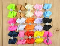 pearl bow barrette 2018 - 30pcs lot 3'' Baby satin ribbon bows with hair clips pearl button center boutique bows hair pins 14 colors free shipping