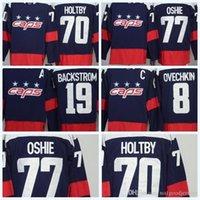 nhl trikots versand großhandel-Mens 2018 NHL Trikot WC 70 Holtby 8 Alex Ovechkin 77 Oshie 19 Backstrom blaue Premier Hockey Jerseys Qualitäts-freier Verschiffengroßverkauf