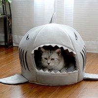 kedi ev köpekbalığı toptan satış-Köpekbalığı Köpek Evi Yıkanabilir Çıkarılabilir Yastık Pet House Sıcak Pet Uyku Yatak Pet Kedi Yuva Köpekbalığı Köpek Kulübesi