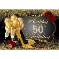 costume feliz aniversário venda por atacado-Feliz 50th Birthday Party Backdrop Impresso Balões de Ouro de Salto Alto Champagne Confetti Rosas Vermelhas Foto Custom Booth Background