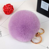 Wholesale Red Rex - lovely rex rabbit fur ball keychain black white cute soft fur ball pendant for bag car