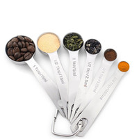 Wholesale measuring suit for sale - Group buy 6pcs Portable Baking Tool Suit Stainless Steel Round Head Measuring Cup Kitchen Flavor Small Spoon High Grade tx Ww