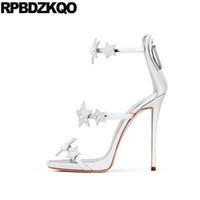 Wholesale Red Star Pump - Stiletto Pumps Ankle Strap Crystal Silver Strappy Designer Shoes Women Luxury 2018 Sexy Fetish Sandals Rhinestone High Heel Star