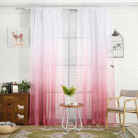 1PCS 200X100CM Gradient Sheer Curtain Tulle Window Treatment Voile Drape Valance 1 Panel Fabric Printed Curtains For Bedroom