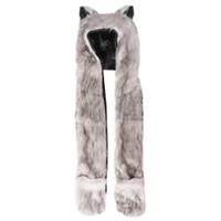 bufandas de imitación de animales al por mayor-MOCH Winter Full Animal Hoodie Bufanda de piel sintética Guantes Sombrero Función 3 en 1 Blanco + Gris