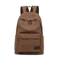 Wholesale vintage travel backpack online - Casual Men Canvas Travel Backpack Men s Vintage Student School Bag Big Laptop Rucksack Canvas Backpack