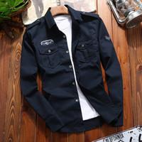 510a09d5cc06 Autumn Mens Shirt Double Pocket Wind Men Shirt Long Sleeve Patch Designs  High Quality For Men