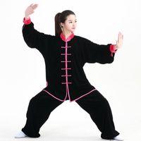 Wholesale taiji clothing online - New Fall and winter Kung Fu Uniforms long Sleeves Tai Chi Suit Martial Arts Clothing Wingchun Taiji Wear Wu Shu Performance Suit