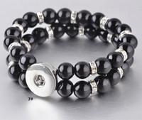conjunto de joyas de doble perla al por mayor-New Snap Bracelet Jewelry Mix Double Layers Blanco Black Pearls Set Rhinestone Beaded Bracelets caben 18MM Noosa Chunks Button