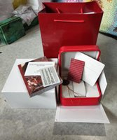 Wholesale modern mans watch box for sale - Group buy Luxury new square red for omega box watch booklet card tags and papers in english watches Box Original Inner Outer Men Wristwatch box om