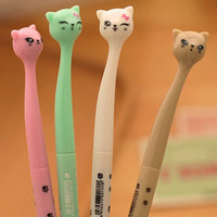 Wholesale liquid arts for sale - 4 Colors mm Cute Plastic Black Ink Gel Pen Cartoon Cat Pens For School Writing Office Supplies Stationery Favors WJ005