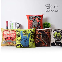 Wholesale sofa pillow pop art - Graffiti Cushions Covers Home Decor Rock Pop Art Decorative Pillows Cases Linen Cotton Pillowcase For Sofa x45cm