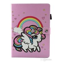 Wholesale cute ipad case folio resale online - Cute Unicorn Flower Print Kid PU Leather Flip Magnetic for ipad Mini Mini New ipad Air Samsung Tablet T280 T380 T585