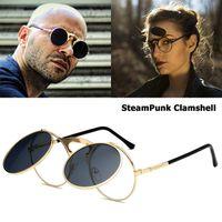 452bd74e8f JackJad 2018 New Fashion VINTAGE Round STEAMPUNK Flip Up Sunglasses Steam  Punk Clamshell Design Retro Sun Glasses Oculos De Sol