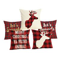geyik yastık kılıfları toptan satış-Comwarm Noel Mektup Ekose Desen Yastık Kılıfı Keten Pamuk Geyik Kırmızı Renk Yemek Sandalye Yastık Kapak Uyku Seyahat Için
