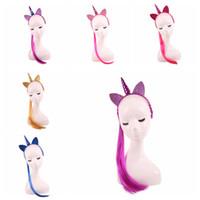bandas para la cabeza del traje al por mayor-Banda para el pelo de las niñas Peluca de la cola de caballo Hairbands Unicorn Headbands bebé cosplay traje de maquillaje accesorios para el cabello para halloween y navidad