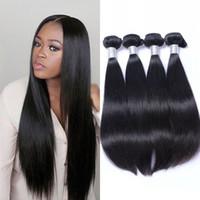 unverarbeitete indische haarverlängerungen großhandel-Indian Straight Hair Weave 4 Bundles Remy Hair Extensions 100% unverarbeitetes Menschenhaar 8-30 Zoll Ping