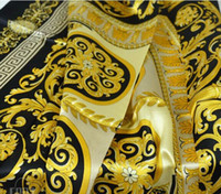 Wholesale gold color print scarves for sale - Group buy 2018 Famous Style Silk Scarves of Woman and Men Solid Color Gold Black Neck Print Soft Fashion Shawl Women Silk Scarf Square