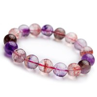 рутиловый кристалл оптовых-Genuine Natural Super Seven 7 Melody Stone Colorful Rutilated Quartz Crystal Stretch Round Bead Bracelet 13mm