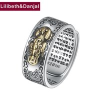 Wholesale Buddha 925 - Buddha Opening Ring 100% Real 925 sterling silver Jewelry Lucky Brave Troops Vajra Scripture Adjustable Ring Men Jewelry FR37