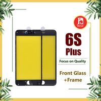 pantalla de repuestos iphone al por mayor-Para iPhone 6S Plus Panel frontal de la pantalla táctil Lente exterior de vidrio + Pegamento frío Conjunto de bisel de marco medio Repuestos de repuesto para 6SP