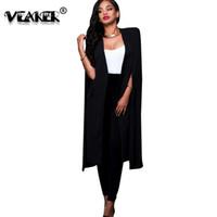 frauen schwarzen graben großhandel-2018 Womens Long Trench Coats Mantel Mantel Weiß Schwarz Farben Damen Capes und Ponchos Plus Size 2XL