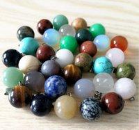 ingrosso pietre naturali rotonde palle-50pcs / LOT all'ingrosso pendenti di pietra naturale di fascino misto ciondolo palla rotonda per collane creazione di gioielli