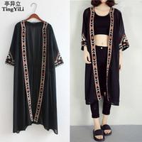 a222fd1f59 TingYiLi Black White Kimono Cardigan Women Embroidery Long Cardigan Summer  Beach Chiffon Maxi Cardigan Female Y1891109