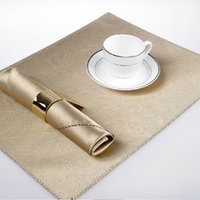 Wholesale Golden Napkins - Luxury Golden Napkin & Placemat Set Dining Table Cloth Anti-heat Smooth Mat Eco-friendly Kitchen Tool Upscale Home Decoration