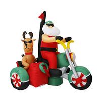 insufláveis insuflados venda por atacado-180 cm Gigante Papai Noel e Rena Na Motocicleta de Natal Ano Novo Partido Jardim Iluminado Brinquedos Infláveis Yard Deco Air Blown